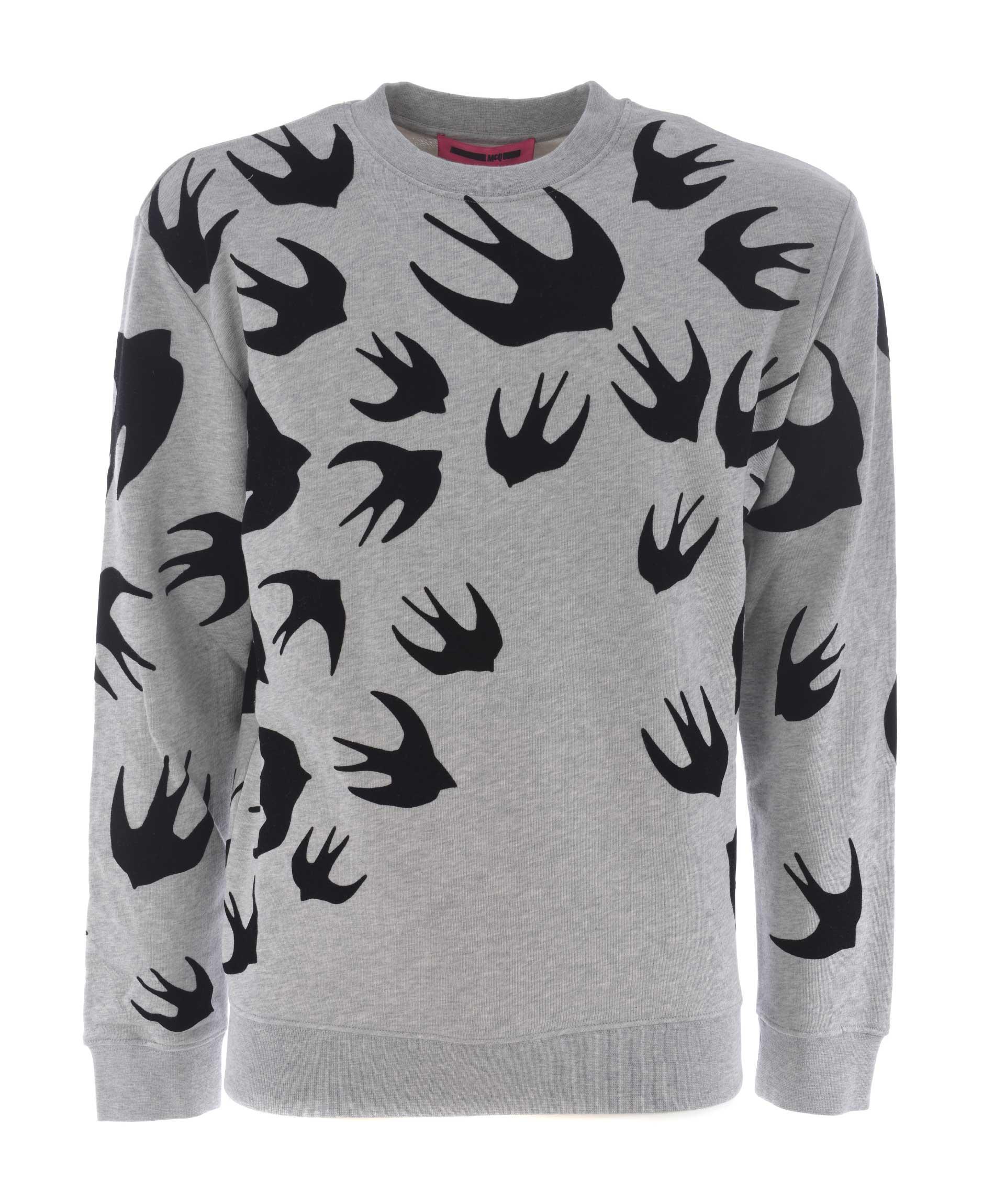 Mcq By Alexander Mcqueen Mcq Alexander Mcqueen Swallow Print Sweatshirt In Grigio Melange