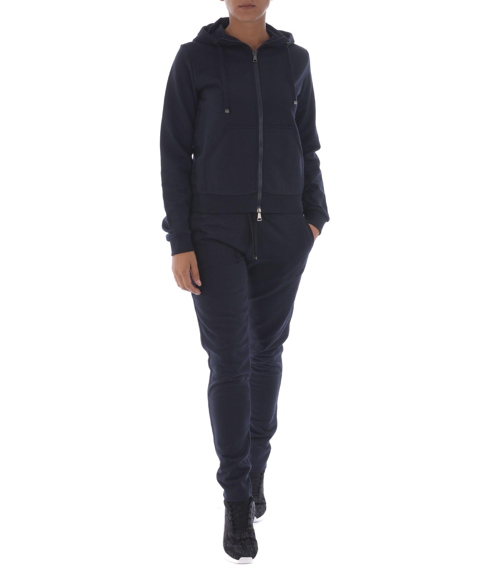 Moncler Zipped Hoodie In Blu Scuro