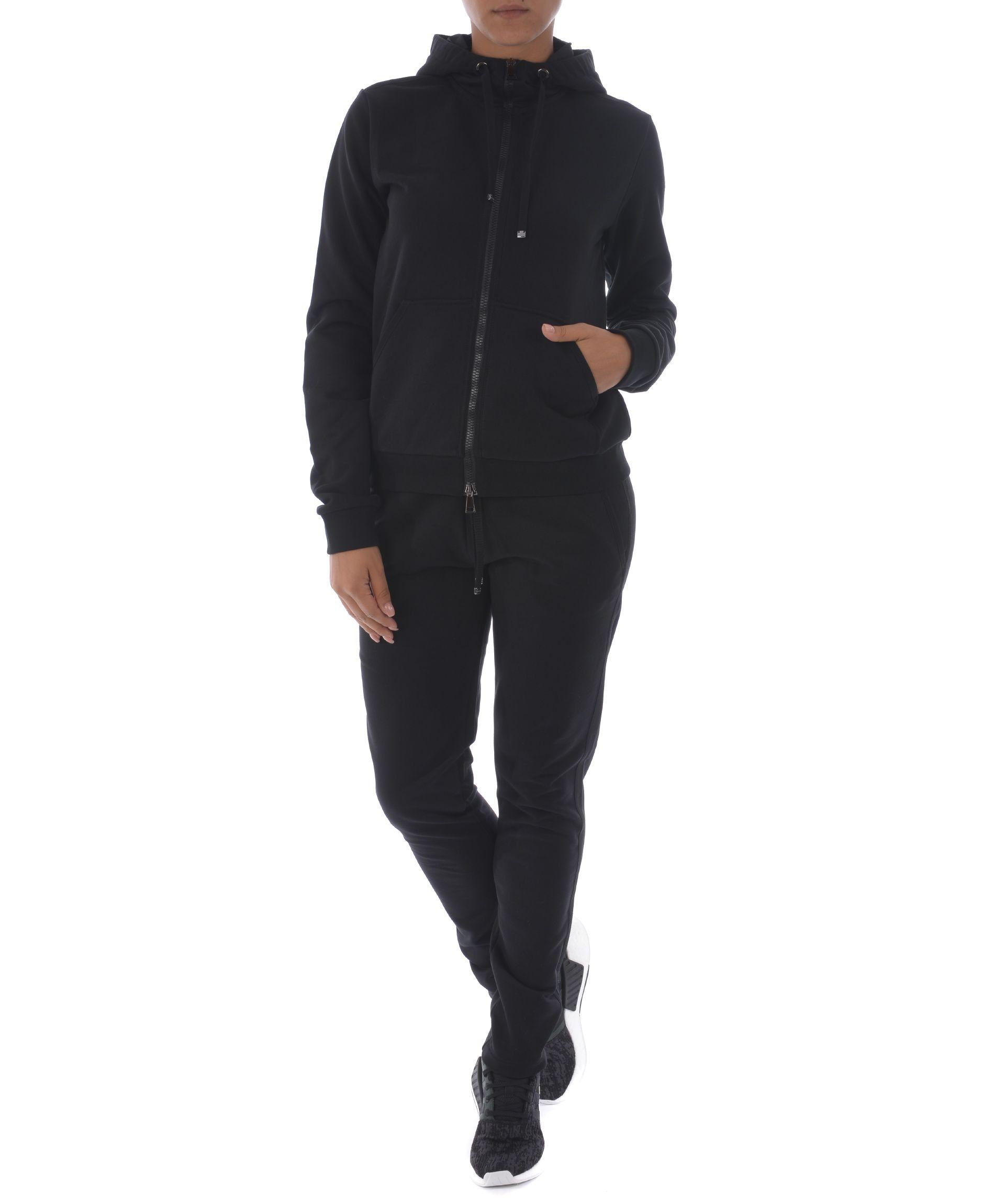 Moncler Zipped Hoodie In Nero