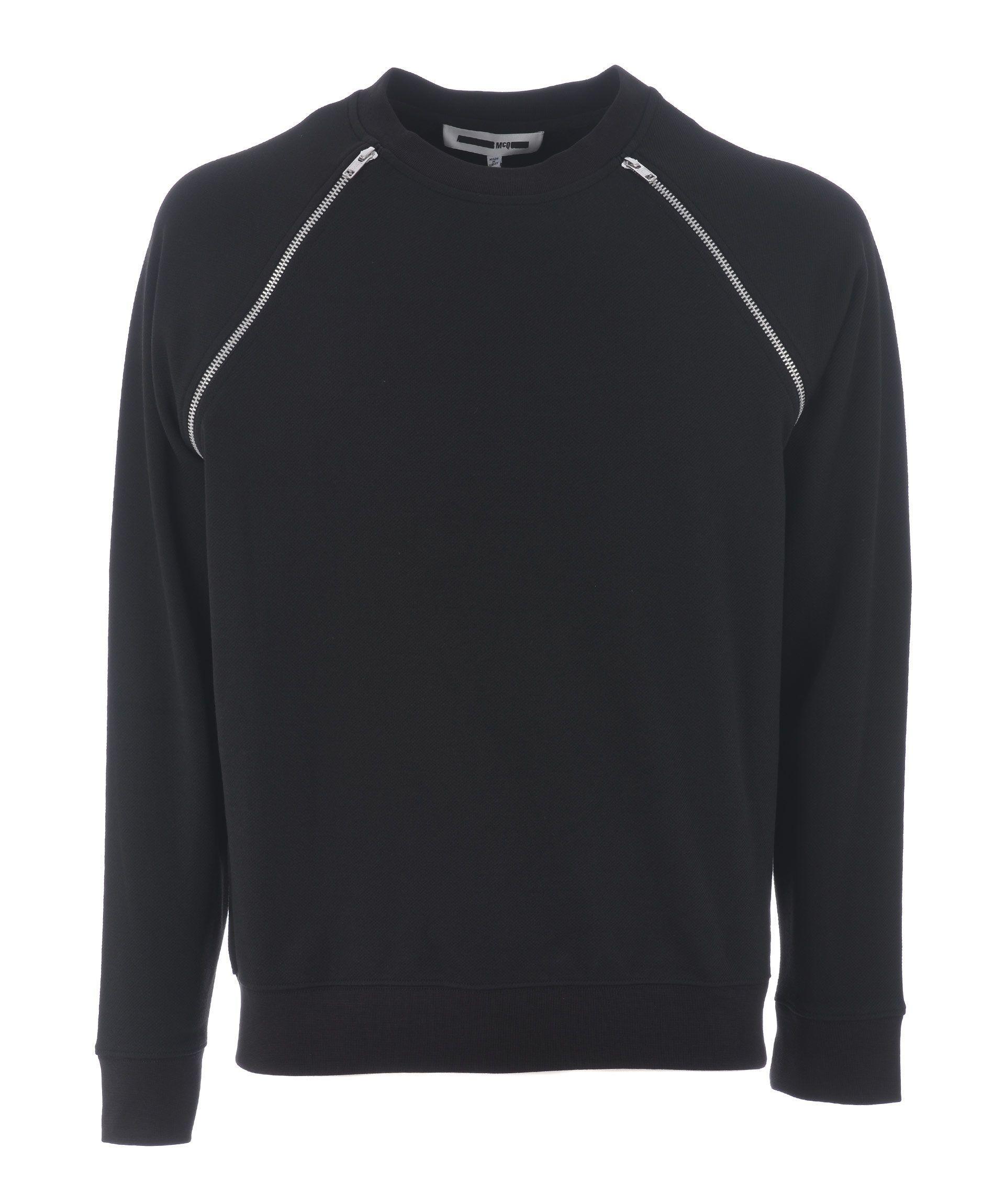 Mcq By Alexander Mcqueen Mcq Alexander Mcqueen Zip Shoulder Sweatshirt In Nero