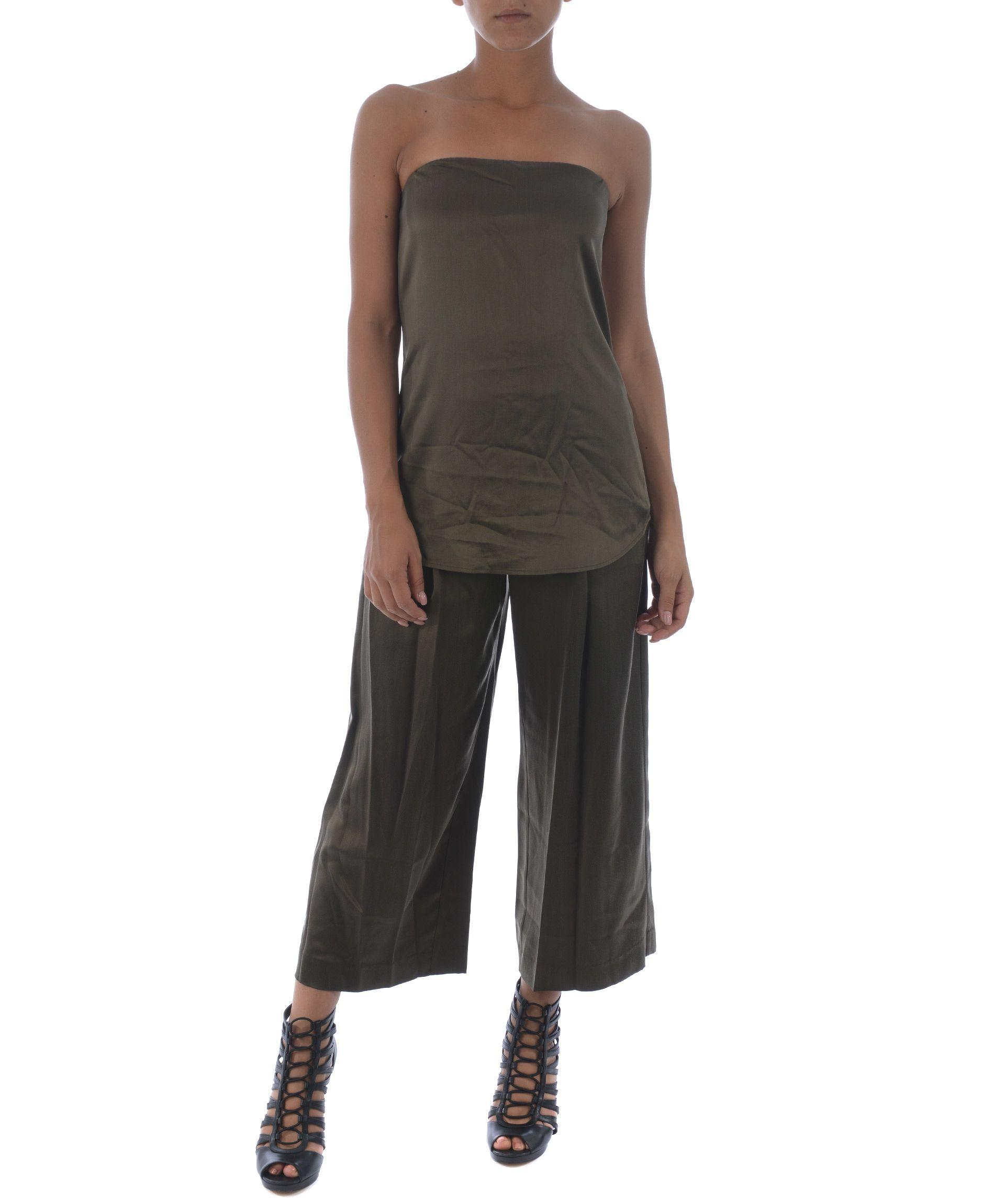 Theory Coulotte Trousers In Verde Scuro