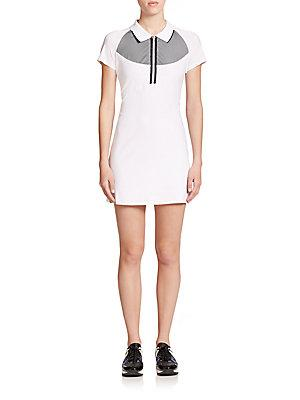 Monreal London Raglan-Sleeve Polo Dress In White Black