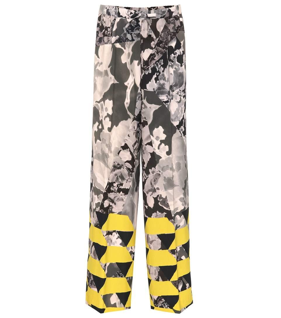 Dries Van Noten Pantalone Elastico Vita Fantasia In Multicoloured