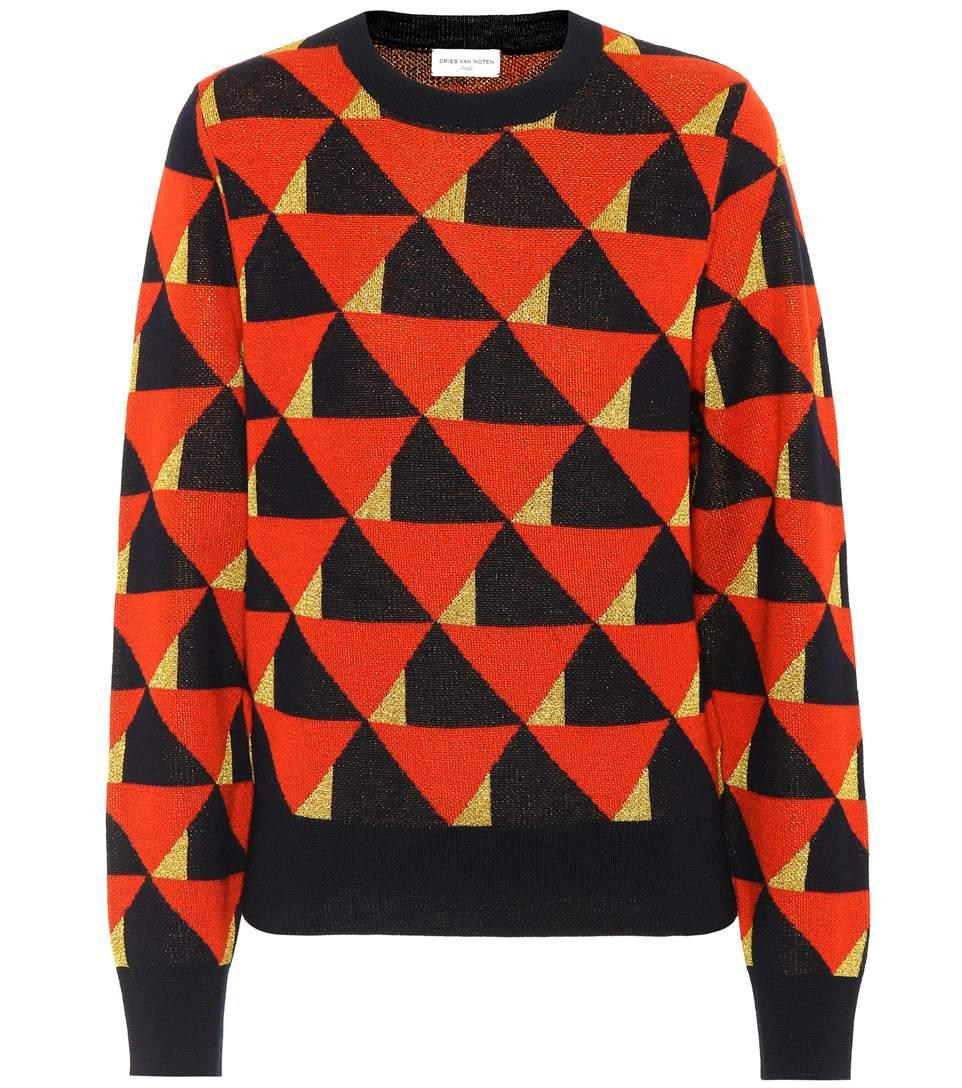 Dries Van Noten Merino Wool-Blend Sweater In Red