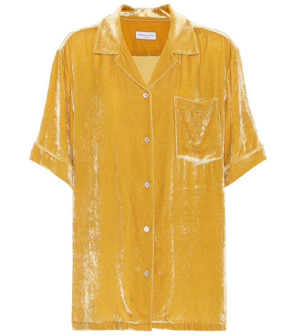 Dries Van Noten Velvet Top In Yellow