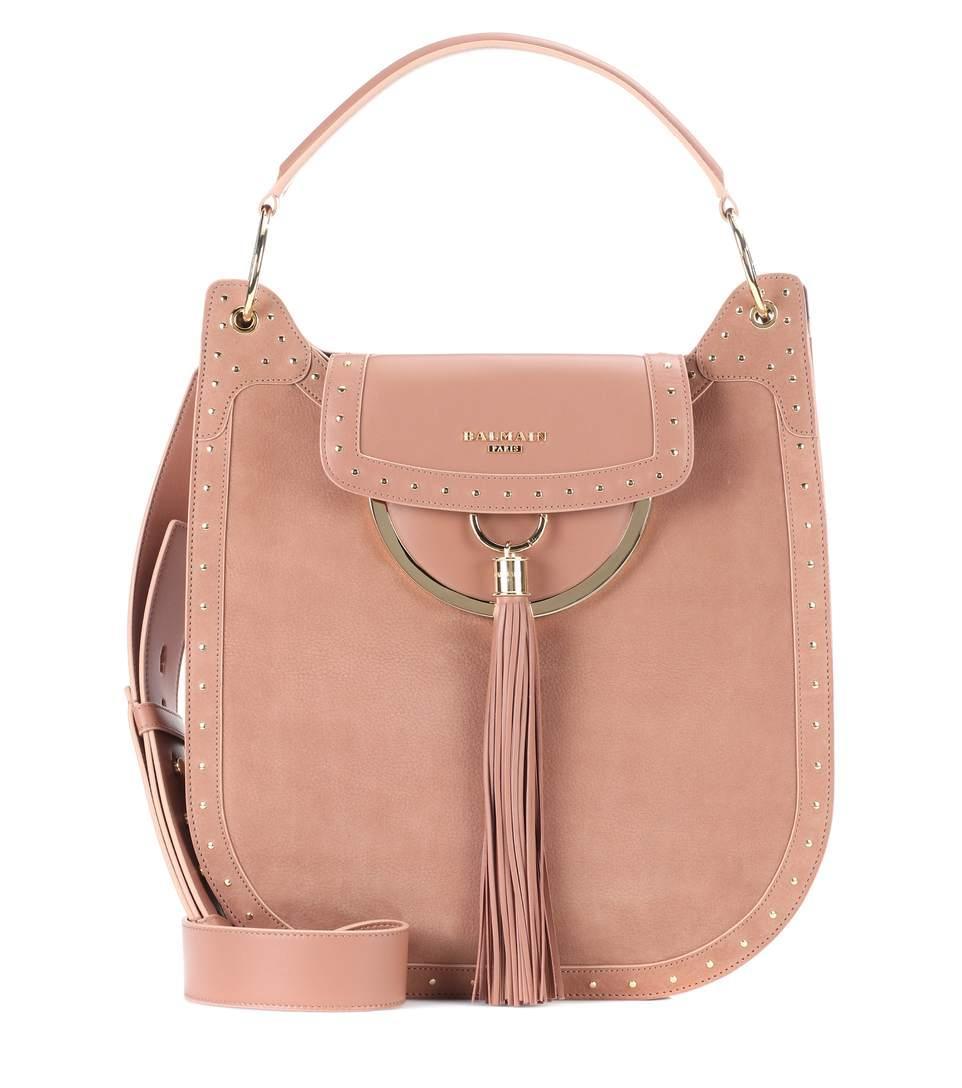 Balmain Suede Shoulder Bag In Pink