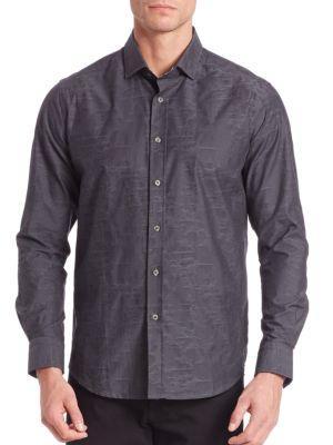 Robert Graham Weylin Textured Button-Down Shirt In Charcoal