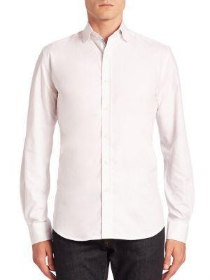 Robert Graham Weylin Textured Button-Down Shirt In White