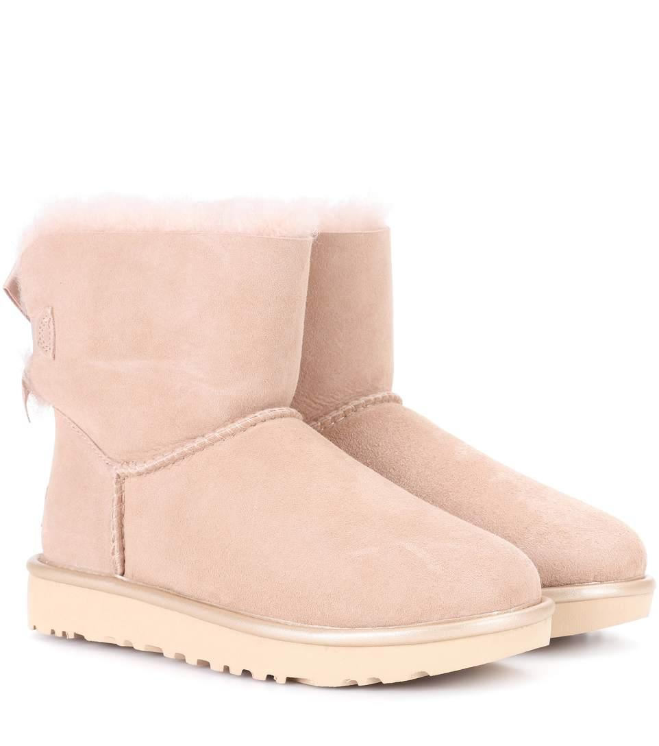 Ugg Mini Bailey Bow Ii Suede Ankle Boots In Dri
