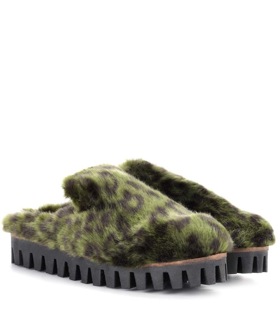 Ganni Gregor Faux-Fur Slippers In Green
