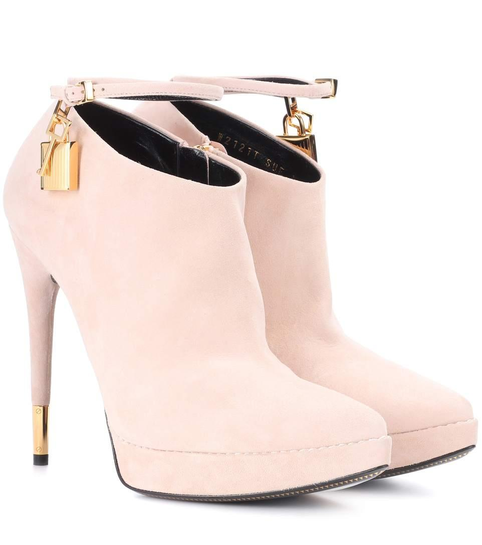 Tom Ford Suede Ankle Boots In Pink