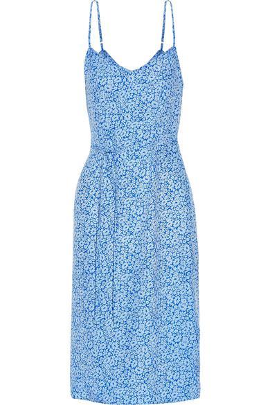 Hvn Lily Floral-Print Silk-Satin Dress