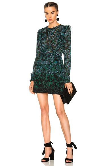 Tanya Taylor Floral Vines Kasha Dress In Green,Floral