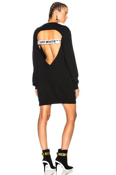 Off-White Open Back Sweatshirt Dress In Black & White