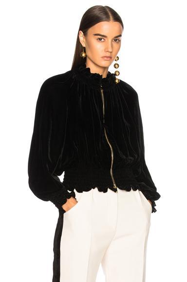 Stella Mccartney Ruffled Velvet Bomber Jacket In Black