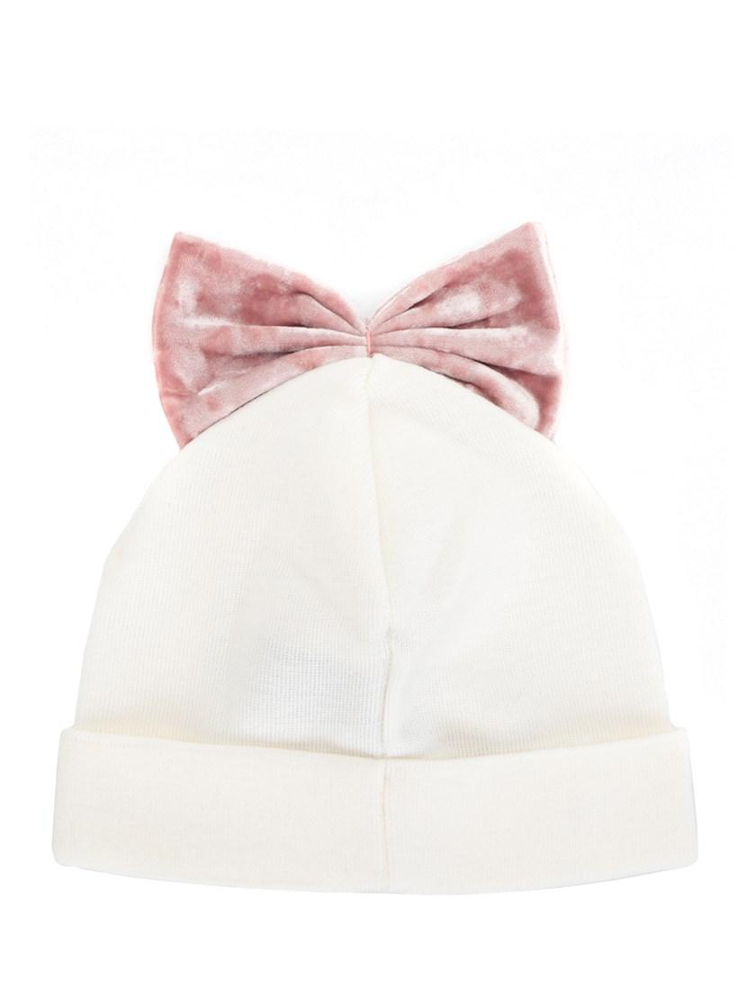Federica Moretti Wool Beanie Hat With Bow In White