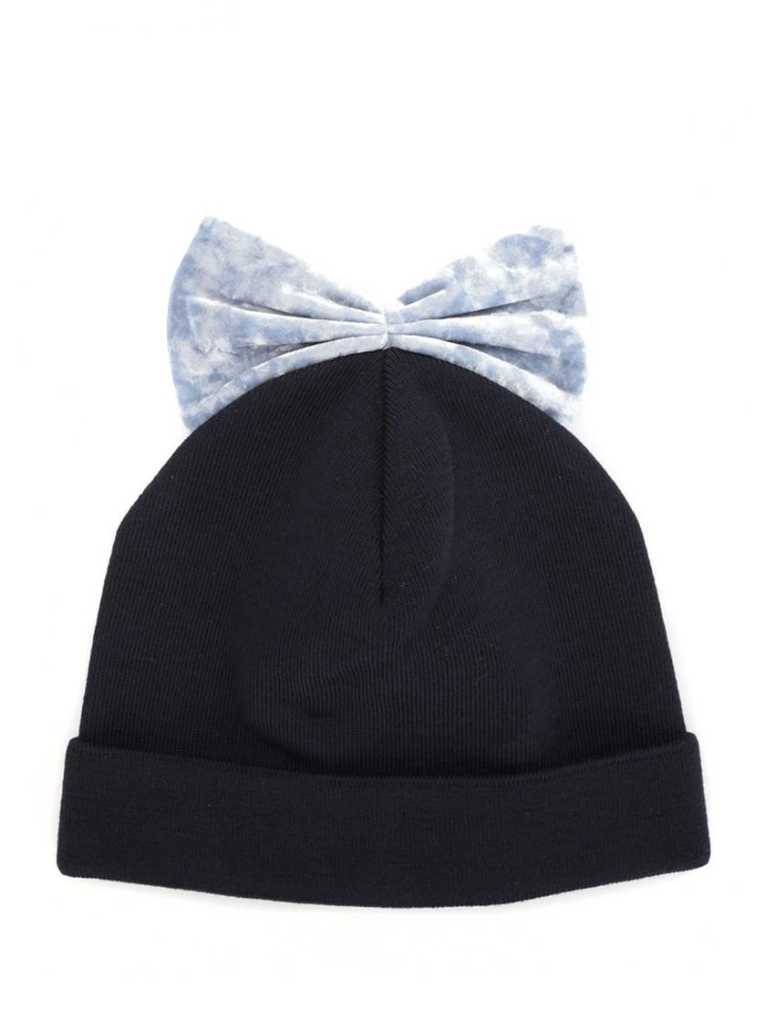 Federica Moretti Blue Virgin Wool Velvet Bow Beanie