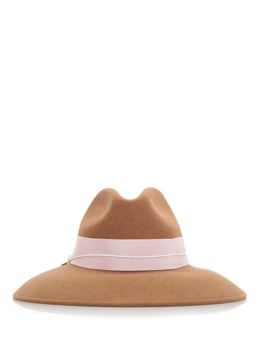 Federica Moretti Camel Beige Fedora Hat