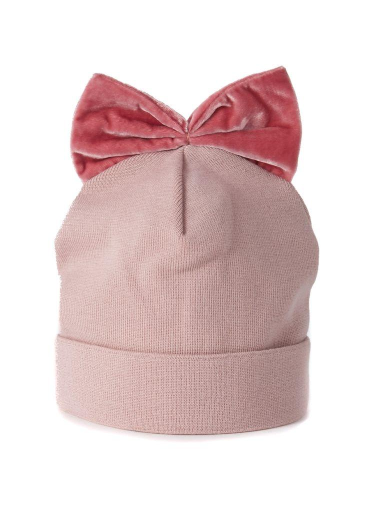 Federica Moretti Pink Wool Hat With Bow In Rosa