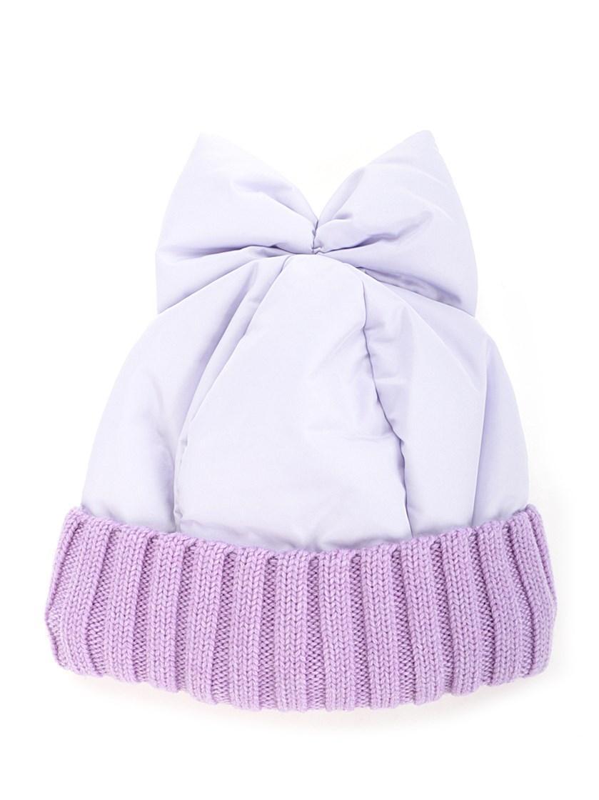 Federica Moretti Bow Detail Beanie In Purple