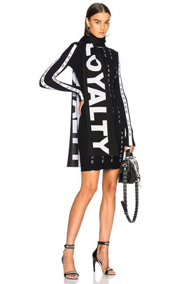 Versace Knit Dress In Navy, Black & White
