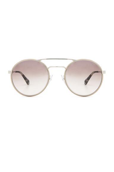 Prada Round Sunglasses In Silver & Light Brown