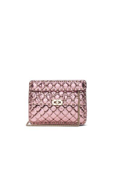 Valentino Medium Metallic Rockstud Spike Shoulder Bag In Pink,Metallics