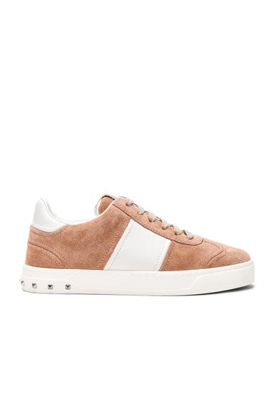 Valentino Suede Fly Crew Sneakers In Neutrals