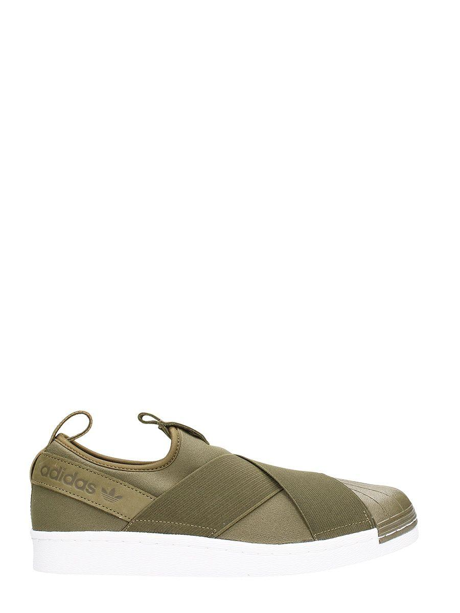 Adidas Originals Superstar Slipo Green Fabric Sneakers