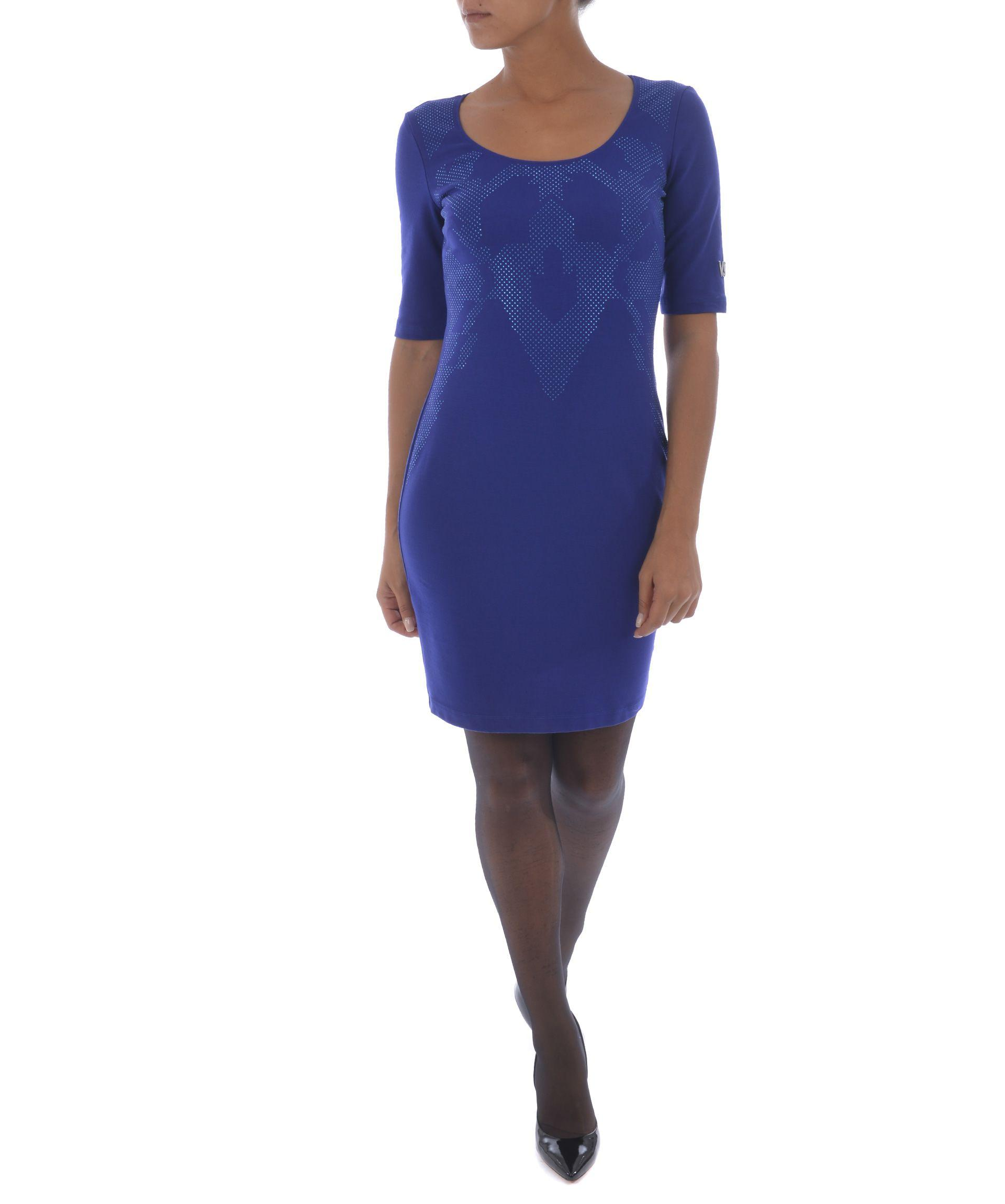 Versace Micro Embellished Dress In Blu Cobalto