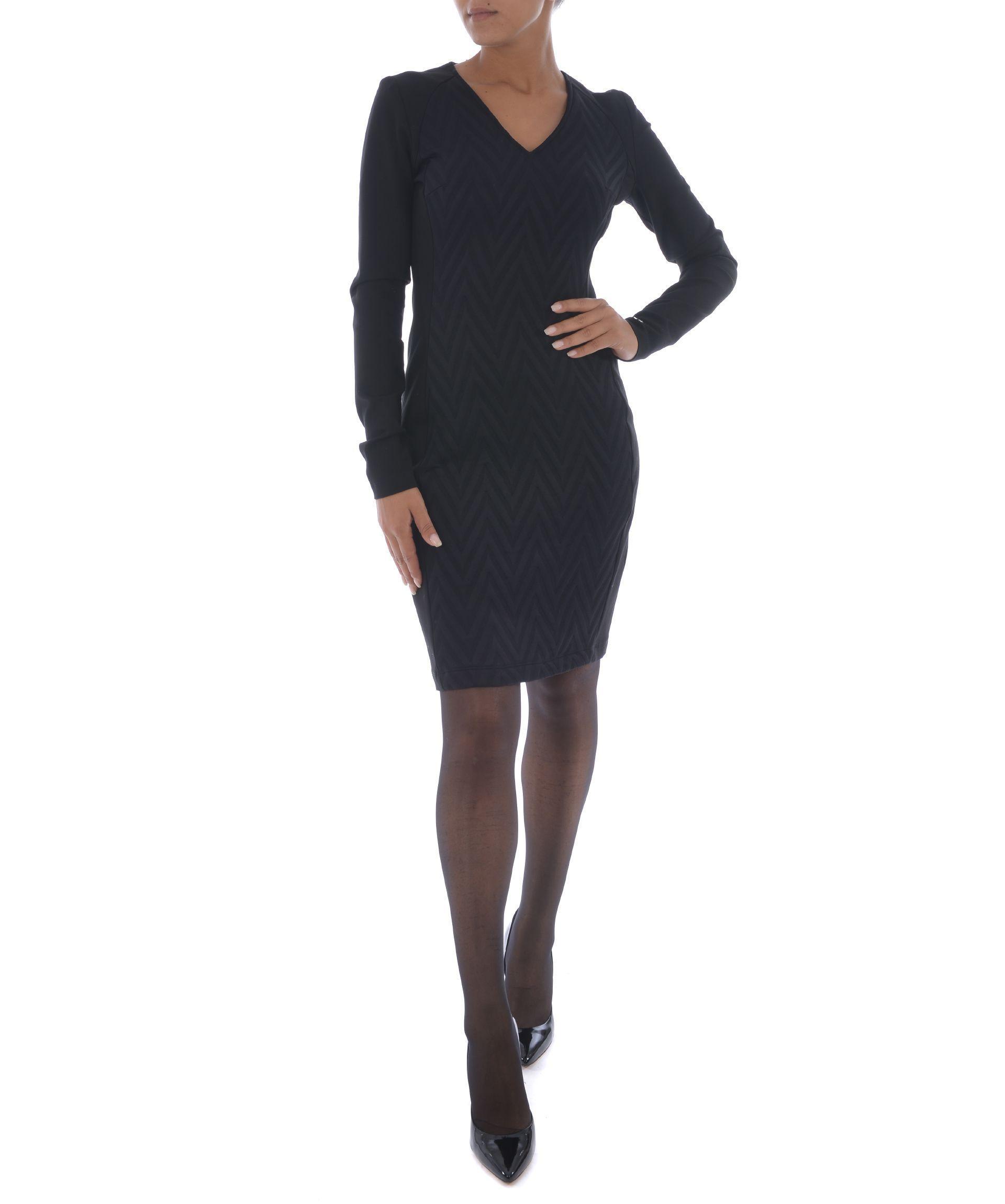 Versace Zig-Zag Pattern Dress In Nero
