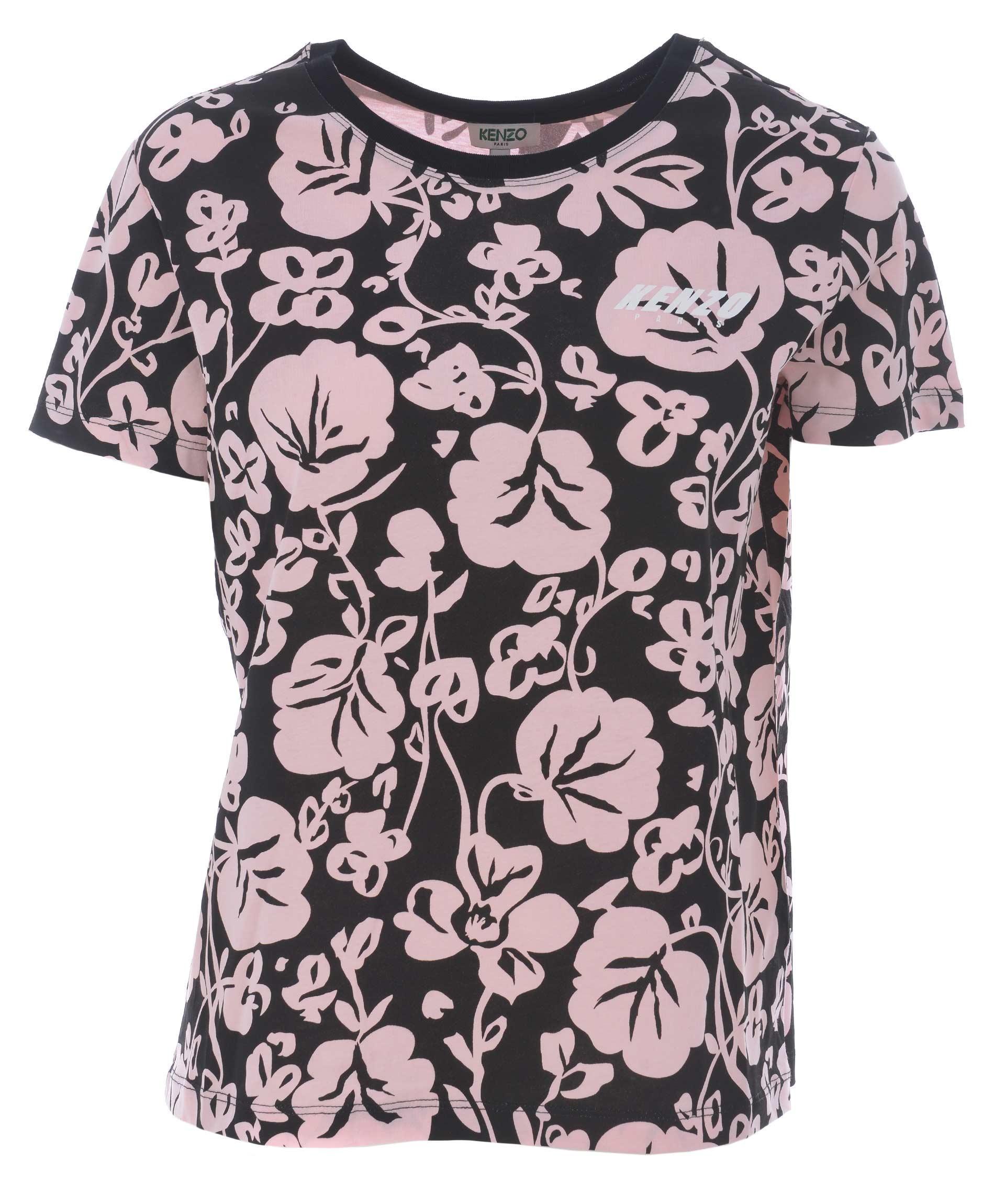 Kenzo Floral Leaf Print T-Shirt In Nero/Rosa