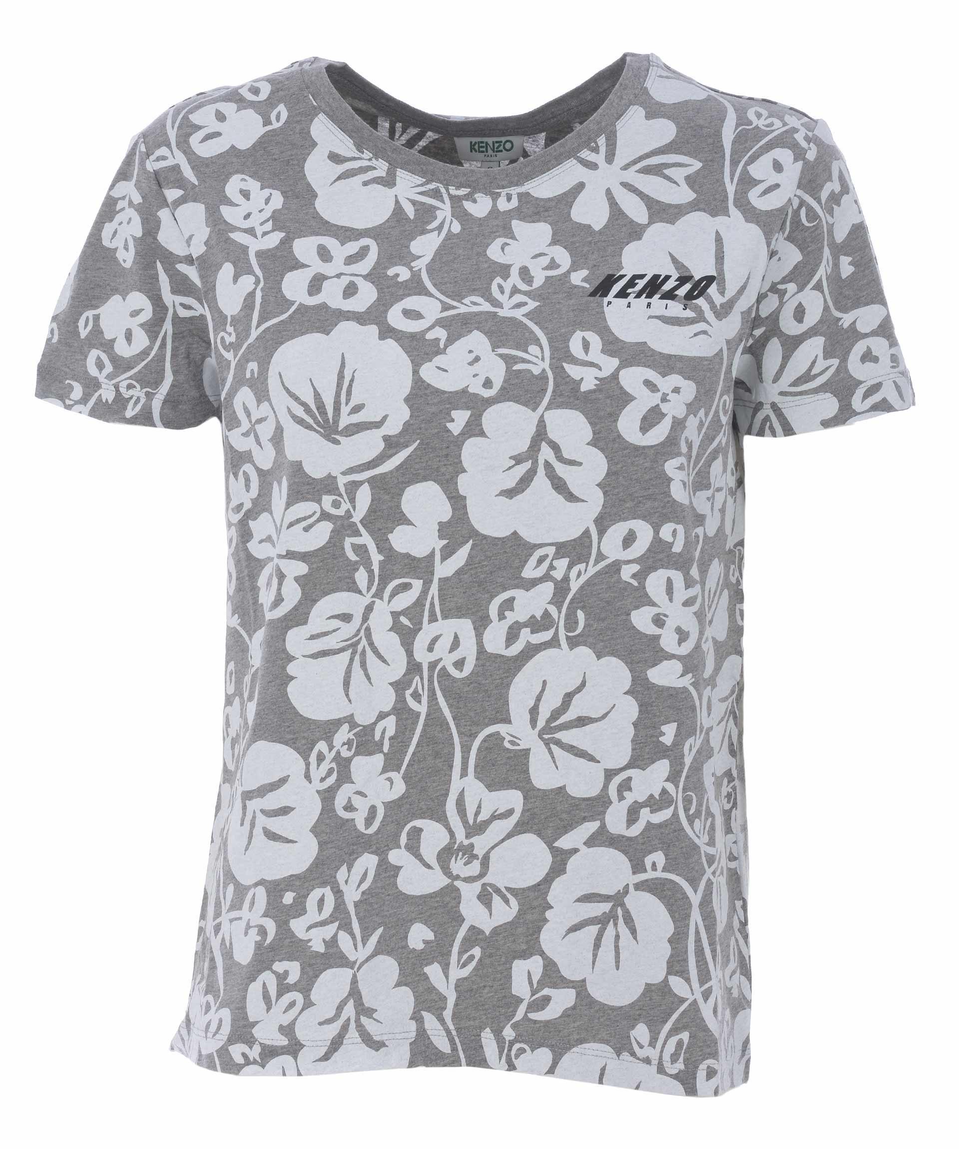 Kenzo Floral Leaf Print T-Shirt In Grigio/Bianco