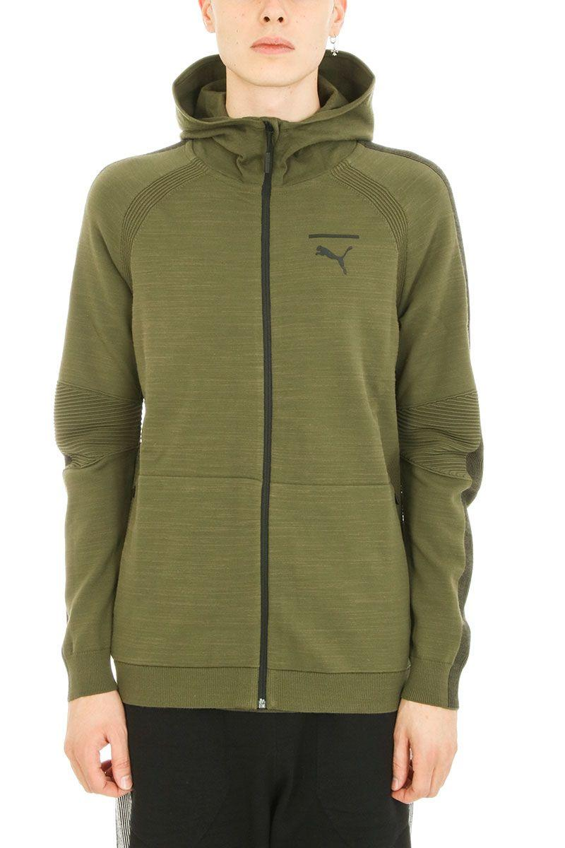 Puma Grey Cotton Hoodie In Green