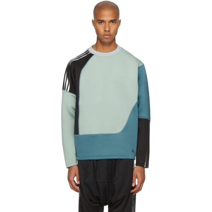 Adidas By Kolor 'Spacer Crew' Colourblock Neoprene Sweatshirt In Blue