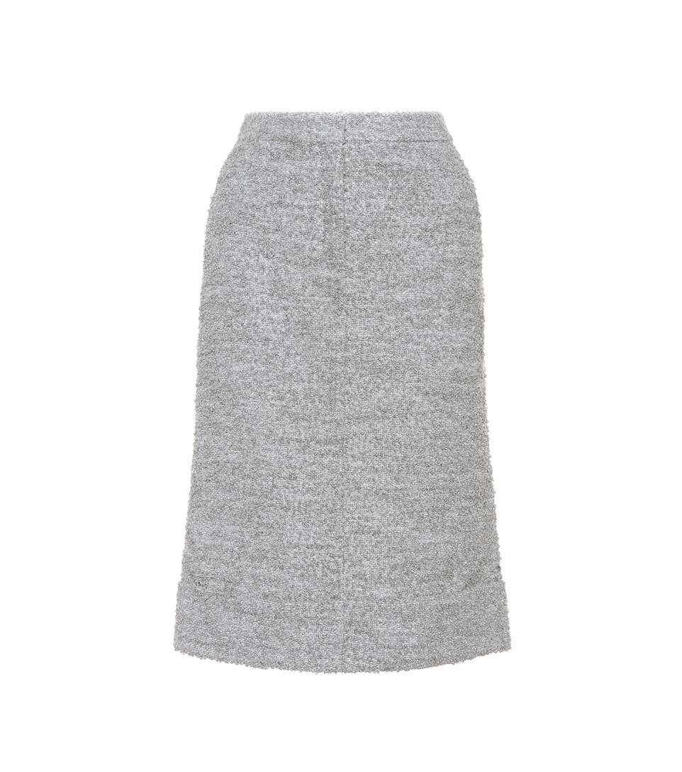 Thom Browne MÉLange Wool-Blend Skirt In Grey