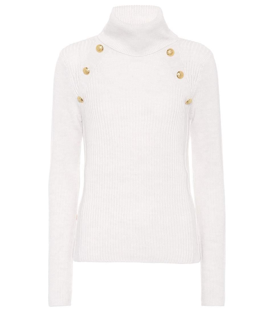Veronica Beard Pearson Button Merino Wool Sweater In White