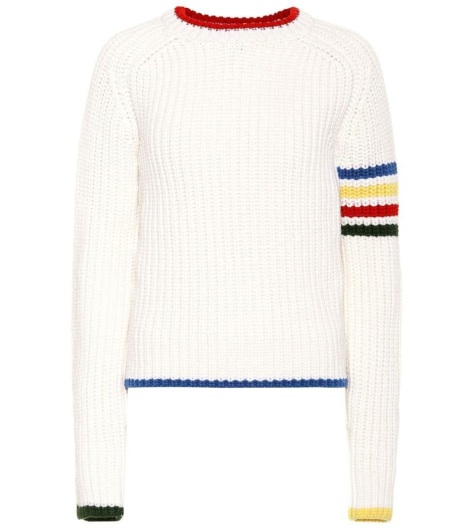 Thom Browne 4-Bar Stripe Chunky Jumper In White