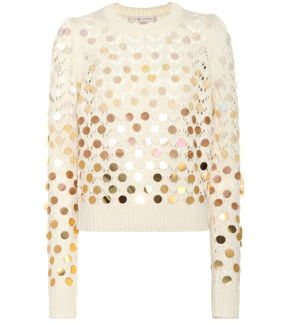 Marc Jacobs Paillette Embellished Wool- Cashmere Sweater In Ivory