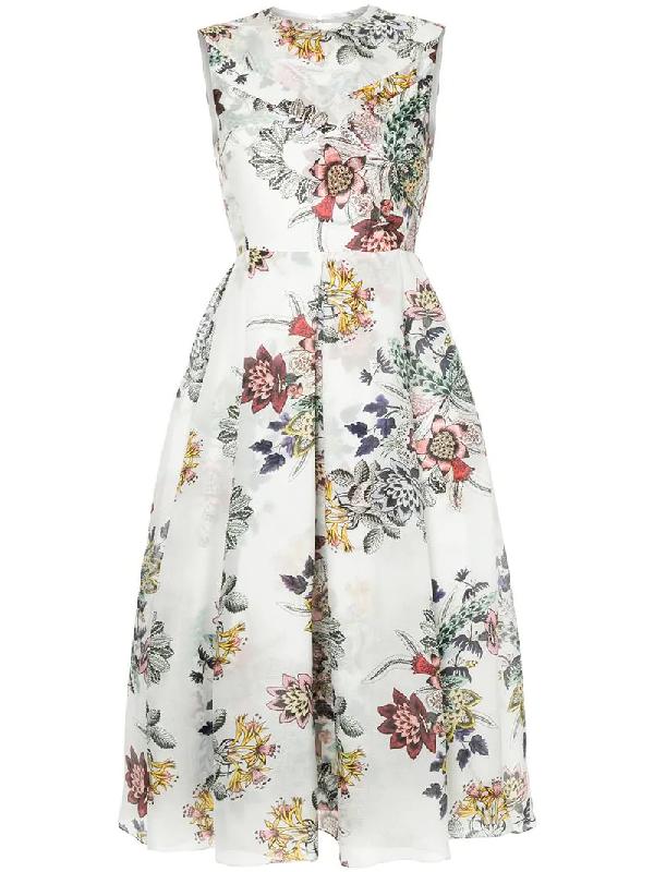 Erdem Ailie Floral-Printed Silk Dress In White