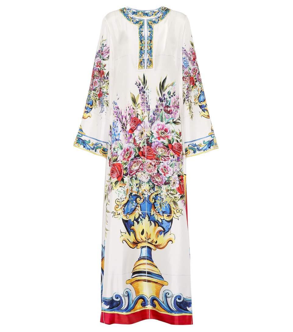 Dolce & Gabbana Printed Silk Dress In Vaso Fiori