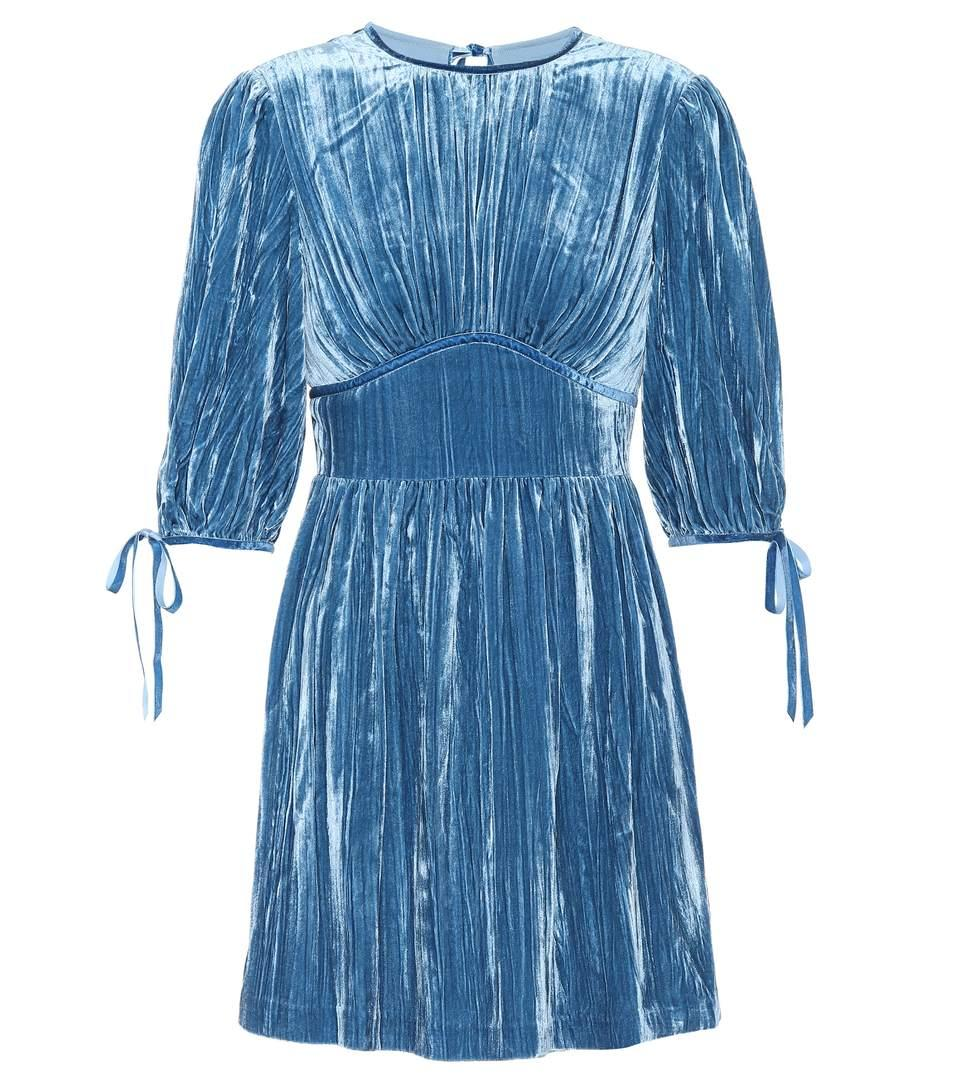 Alexa Chung Pleated Velvet Mini Dress In Dusky Llue
