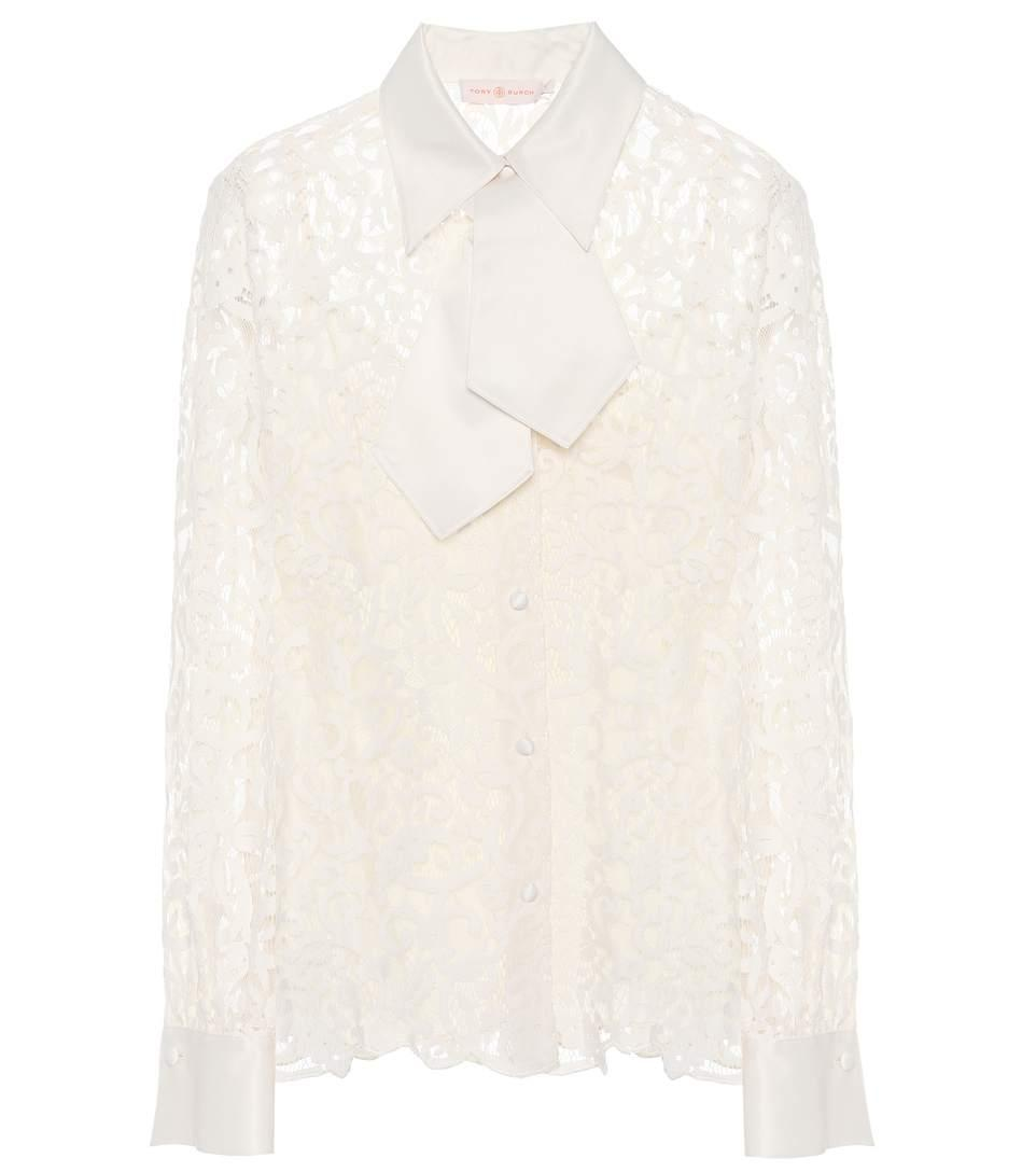 Tory Burch Rosie Cotton-Blend Blouse In White