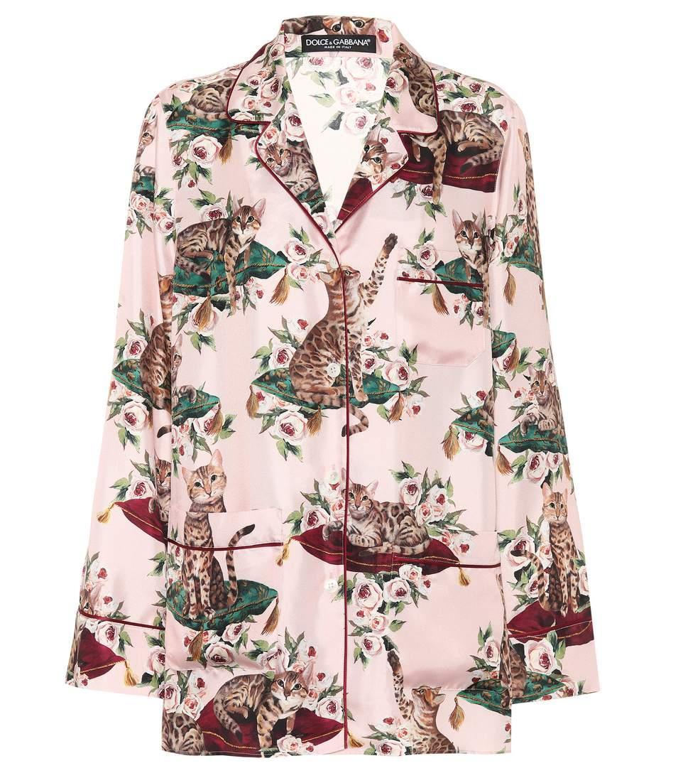 Dolce & Gabbana Printed Silk-Twill Shirt In Gatti E Rose Foedo Rosa