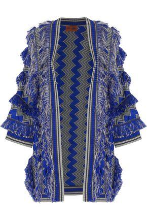Missoni Woman Fringed Crochet-Knit Cardigan Blue