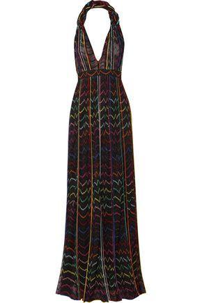 Missoni Woman Pleated Metallic Crochet-Knit Halterneck Maxi Dress Multicolor