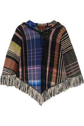 Missoni Woman Fringed BouclÉ And Crochet-Knit Wool-Blend Hooded Poncho Black