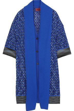 Missoni Woman Cape-Effect Wool-Blend Cardigan Blue