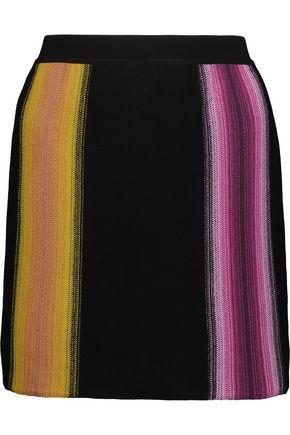 Missoni Woman Striped Crochet-Knit Wool Mini Skirt Black