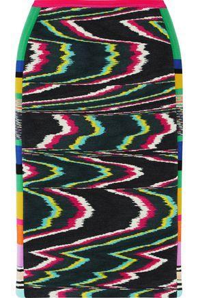 Missoni Woman Paneled Printed Wool-Blend Skirt Dark Gray